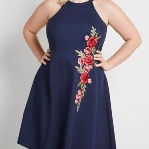 Modcloth Lesson in Luxe Embroidered Blue Dress